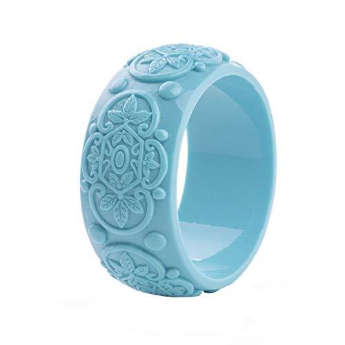(Flamingogogo Vintage Resin Cuff Engraved Flowers Bracelets Bangles for Women Fashion Wide Acrylic Bracelet Girls Charm Wedding Jewelry,Blue)