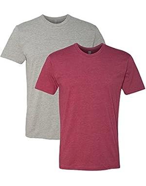N6210 T-Shirt, Dark Heather Gray + Cardinal (2 Pack), Large