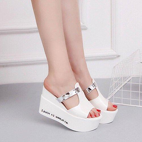 Rumas Women Comfort High Heels Slippers Sandals Platform Shopping Flip Flop White 9Zooaln