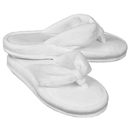 Women's Soft Terrycloth Spa Thong Flip Flops House - Womens Acorn Slippers Size 6