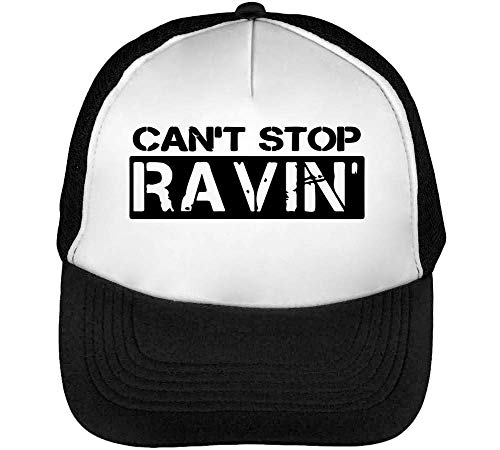 Can'T Stop Ravin' Gorras Hombre Snapback Beisbol Negro Blanco