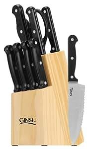 Ginsu 05150 Essential Series 10 Piece Set, Natural Block, Black