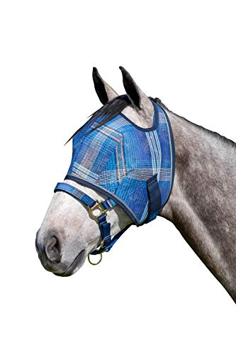 - Kensington Fly Mask Web Trim - Protects Horses Face and Eyes from Biting Insects and UV Rays While Allowing Full Visibility - Ears and Forelock Able to Come Through The Mask (Large, Kentucky Blue)