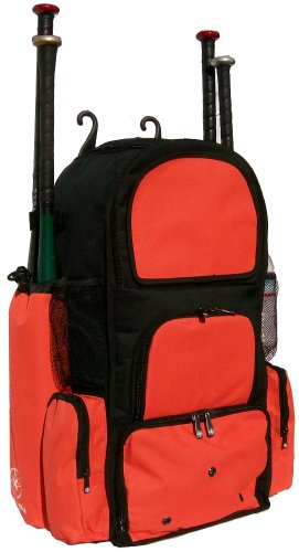 Black and Orange Chita II (L) Adult Softball Baseball Bat Equipment Backpack by MAXOPS