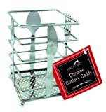 Euro-Home EW3115 Chrome Cutlery Caddy Fork and Spoon Design, Multicolor