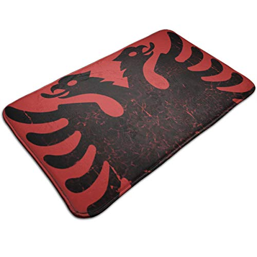 ETHAN SHAW Vintage Albanian Flag Doormat Entrance Mat Floor Mat Rug Indoor/Outdoor/Front Door/Bathroom Mats Rubber Non Slip(50cmx80cm)