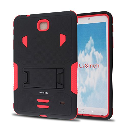[iRhino] TM BLACK-RED Heavy Duty rugged impact Hybrid Case cover with Build In Kickstand Protective Case For Samsung galaxy Tab 4 8.0 inch T330 Tablet