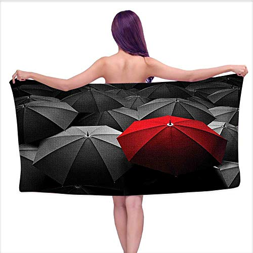 Leigh home Kids Bath/Pool/Beach Towel,Black Happiness in Sadness Symbol Art Rainy Stormy Day Umbrellas Photo Charcoal Grey,Super Soft & Absorbent Fade Resistant Cotton Towe W 31.5