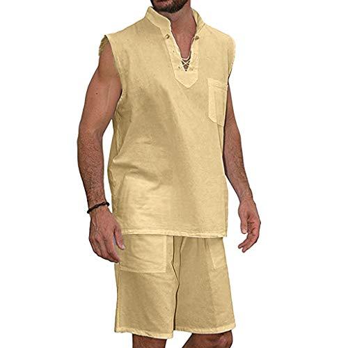 JJLIKER Men's Fashion Short Sleeve T-Shirt Tee and Beach Shorts Suit Summer Casual Cotton Tops+Pants 2PCS Khaki ()