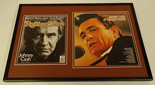 Johnny Cash Framed 12x18 Folsom Prison & Rolling Stone Cover Display