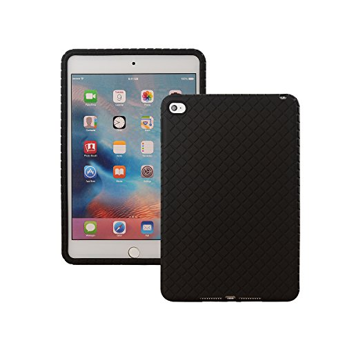 Veamor iPad Mini 4 Silicone Back Case Cover, Anti Slip Flexible Rubber Protective Skin Soft Bumper for Apple iPad Mini 4th Gen, Kids Friendly/Lightweight/Ultra Slim/Drop Proof/Shockproof (Black)
