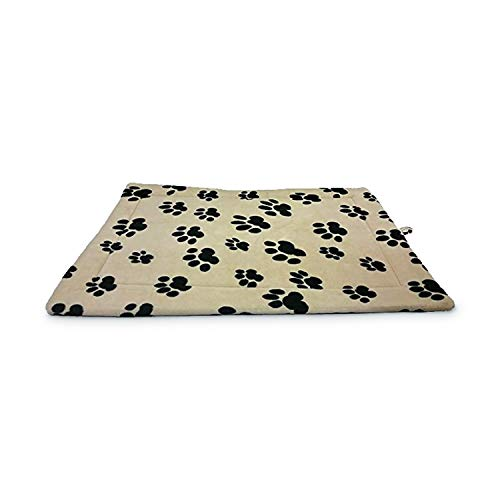 Sleep Zone Fleece Thermo Kennel And Crate Mat - Non Woven Bottom - 37X25 Inches / Paw Print / Attractive, Durable, Comfortable, Washable. By Ethical ()
