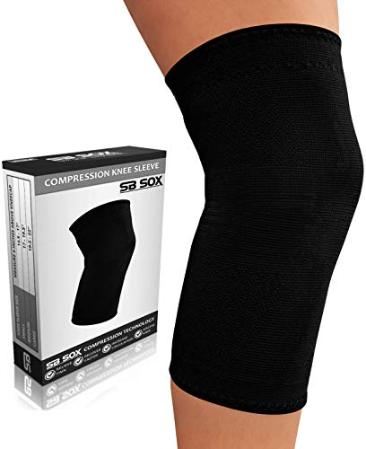 SB SOX Compression Knee Brace for Knee Pain - Braces and Supports Knee for Pain Relief, Meniscus Tear, Arthritis, Injury, Running, Joint Pain, Support (X-Large, Solid - Black)