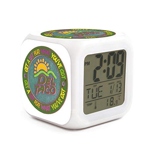 VjRjZ Alarm Clock Gifts LED Light Popular Dormitory for Couple World POG  Federation WPF Del Taco Logo