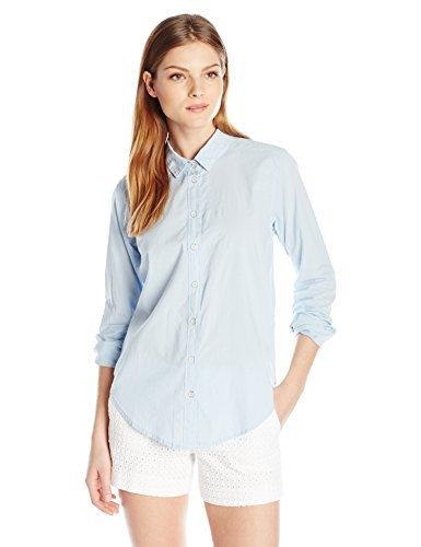 Velvet by Graham & Spencer Women's Cotton Button Down Shirt, Larkspur, Medium