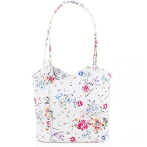 PELLE VERA Backpack Womens Real Italian Bucket Handbag Floral Leather Shoulder 44Ovfqw