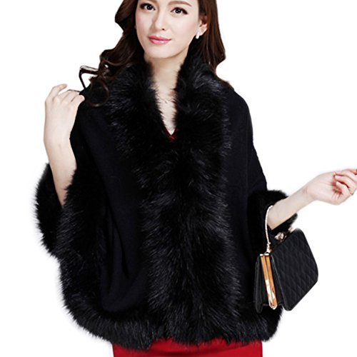 Faux Fur Trim Black Sweater - 4