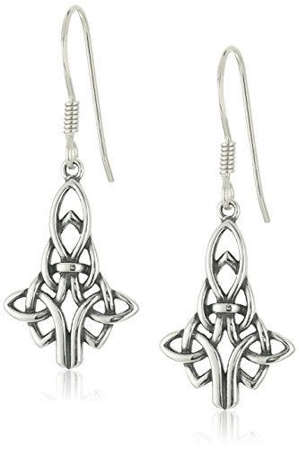 Sterling Silver Oxidized Celtic Knot Drop Earrings (Sterling Silver Earrings Antique)