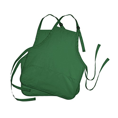 DALIX Apron Commercial Restaurant Home Bib Spun Poly Cotton Kitchen Aprons (3 Pockets) in Dark Green 2 -