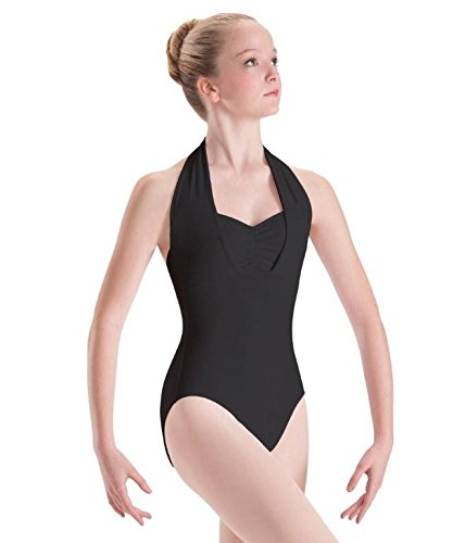 Dance Leotard Halter (Motionwear Overlay Halter Leotard, Black, Medium Adult)