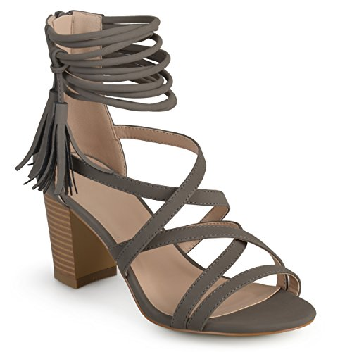 - Journee Collection Womens Strappy Tassel High Heels Grey, 9 Regular US