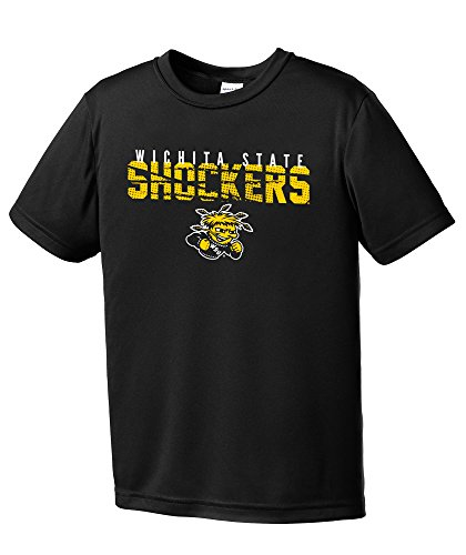 NCAA Wichita State Shockers Youth Boys Destroyed Short sleeve Polyester Competitor T-Shirt, Youth X-Large,Black