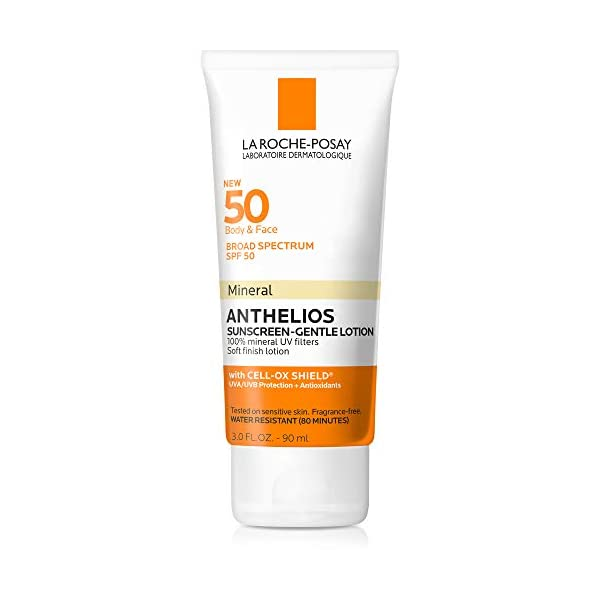 Kerrian Online Fashions 41LgkUOVbiL La Roche-Posay Anthelios Mineral Sunscreen Gentle Lotion Broad Spectrum SPF 50, Face and Body Sunscreen with Zinc Oxide and Titanium Dioxide, Oil-Free