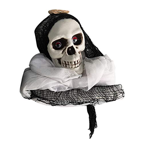 Fan-Ling Halloween Skull Hanging Ghosts Model,Horror Decorative Props Pendant Supplies,Fake Skull Party Prop,Halloween Decoration Toy Funny Novelty Ghost Scary Terror Skull Prop (White) (Antique Roses Plate)