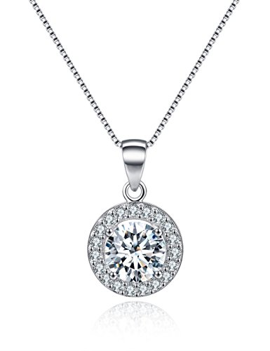 Halo Pendant Necklace 18K White Gold Plated Sterling Silver Necklace for Women Round Cubic Zirconia CZ Necklace Anniversary Gifts For Her Valentine's Day Gifts Romantic Gifts for Women Wife Girlfriend