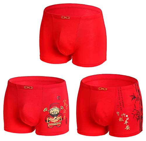 Men's Middle Waist Boxer Briefs China Culture Red Underwear 3-Pack Good Fortune