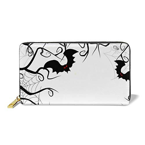 Leather Wallet Zipper Around Clutch Purse Waterproof Card Holder For Men & Women - Pumpkin Halloween Day -