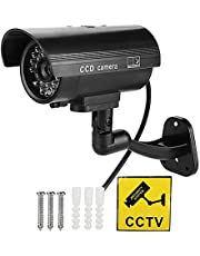 Dummy Fake Security Camera, Flash LED CCTV Fake Camera Dummy Security Waterproof Home Surveillance Security Anti-Theft Simulation Monitor