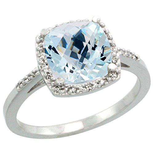 10K White Gold Diamond Natural Aquamarine Ring Cushion-cut 8x8 mm, size 7 by Silver City Jewelry