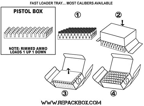 Holds 50 Rounds REPACKBOX 30 Box Kit FREE SHIPPING 9 Pistol Calibers