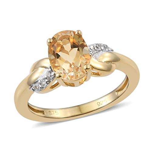 925 Sterling Silver 14K Yellow Gold Plated Oval Citrine Zircon Statement Ring for Women Size 7 Cttw 1 14k Yellow Gold Citrine Ring
