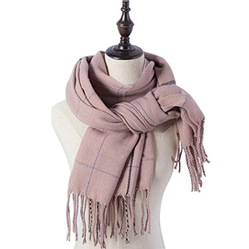 Women's Scarf Classic Tassel Plaid Scarf Fall Winter Warm Soft Chunky Blanket Wrap Shawl Scarves (Pink, Free Size) from Appoi Scarf