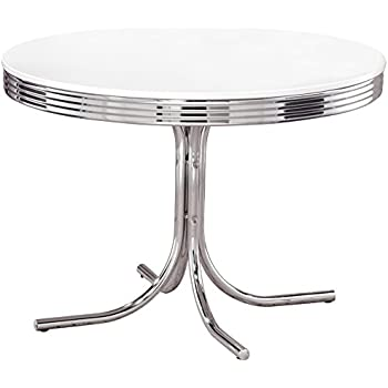 Coaster Retro Round Dining Kitchen Table In Chrome/White
