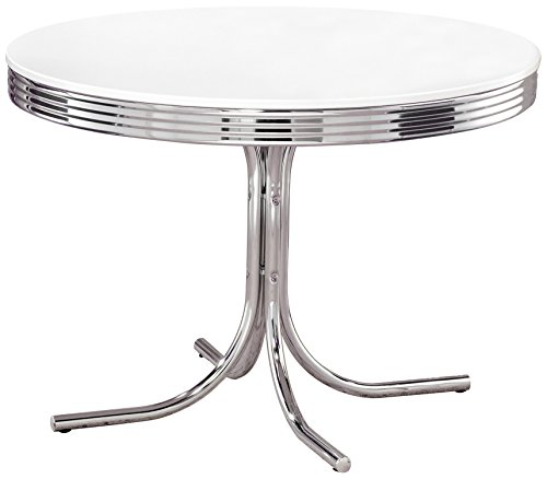 Metal Retro Round Table - Coaster Retro Contemporary White and Chrome Dining Table