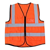 VORCOOL High Visibility Cycling Riding Vest Multi-Pocket Reflective Safety Vest Jacket for Outdoor Construction Work Safety Road Traffic Sanitation Worker (Orange)