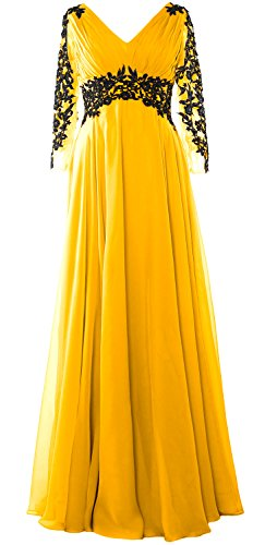 MACloth Women V Neck Mother of the Bride Dress Long Sleeve Formal Evening Gown Amarillo