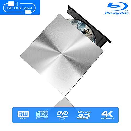 External Blu Ray DVD Drive 3D 4K, USB C & 3.0 Burner Slim Optical Portable Blu-ray CD DVD Reader Writer RW Player for Laptop Desktop MacBook OS Windows 7 8 10 PC iMac Laptop (Silver)