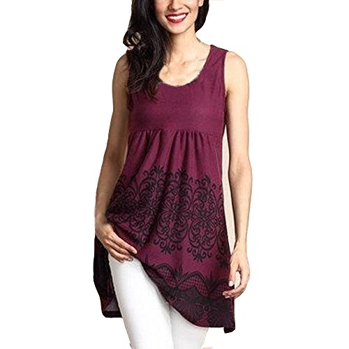 DaySeventh Spring Deals 2019 ! Womens Fashion Sleeveless O- Neck Printed Tops Loose T-Shirt Blouse Wine
