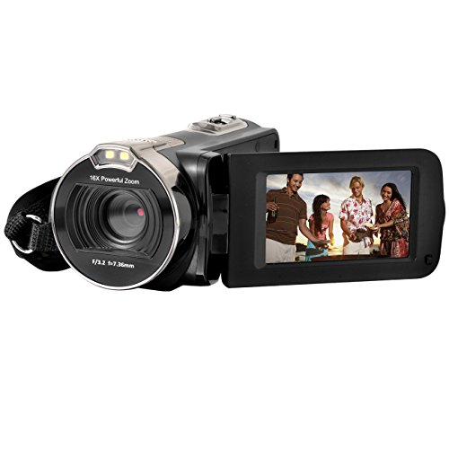 Camera Camcorders, Sicanal Portable HD 1080P 24MP 16X Digital Zoom Video Camcorder with 270 Degree Rotation 2.7'' LCD Screen (HDV-312P-Black)