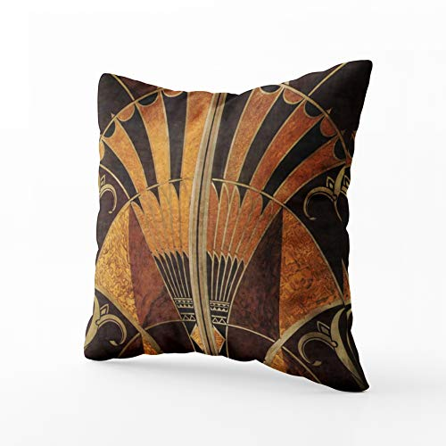 (Musesh Art Nouveau Art Deco Vintage Multi Wood Colours Cushions Case Throw Pillow Cover for Sofa Home Decorative Pillowslip Gift Ideas Household Pillowcase Zippered Pillow Covers 18X18Inch)