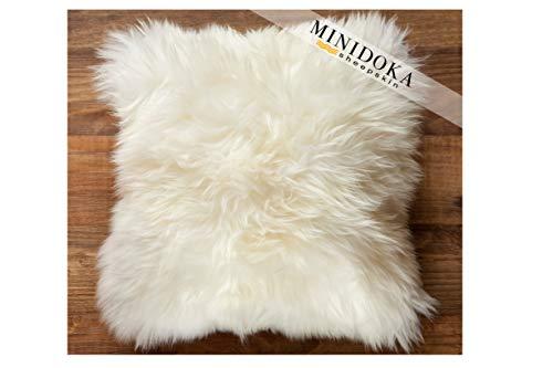 Desert Breeze Distributing New Zealand Sheepskin Ivory Pillow - 14 x 14 - Luxuriously Soft Unshorn Wool - Stuffed and Ready for Use