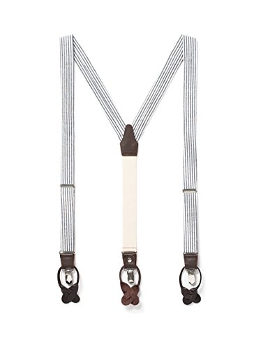 JJ SUSPENDERS Woven Textured Y Suspenders for Men with Leather Detailing & Interchangeable Clips