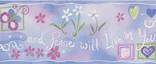 - Hearts Peace White and Red Flowers Blue on Pink Wallpaper Border for Kids, Roll 15' x 5.25''