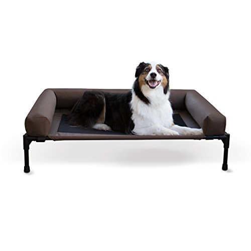 K&H Pet Products Original Bolster Pet Cot Elevated Pet Bed Large Chocolate/Mesh 30