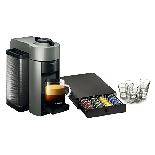 Nespresso VertuoLine Evoluo Grey Coffee and Espresso Maker with 40 Capsule Storage Drawer and Free Set of 6 Espresso Glasses