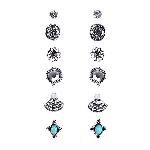 6 Pair Pack Assorted Multiple Crystal Turquoise Boho Stud Earrings Sets For Women (High Fashion Moisturizer)